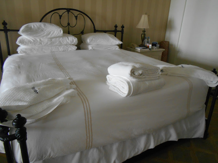 Our comfy, cozy bed at Pelican Grand
