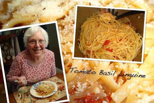 My Mother-in-law Eating Tomato Basil Linguine