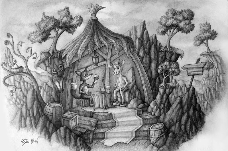 "Photo: ""Locanda nel Bosco"" pencil drawing  Author: Gaston Nicolas Alanis"