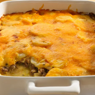Potato and Ground Beef Gratin.
