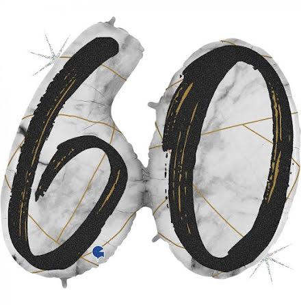 Folieballong - 60 marble - svart