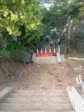 Photo: Retaining wall and entire set of damaged steps removed by San Francisco Department of Public Works on Hidden Garden Steps (16th Avenue, between Kirkham and Lawton streets in San Francisco's Inner Sunset District) in December 2012; for more information about the Hidden Garden Steps project, please visit http://hiddengardensteps.org.