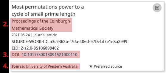 tento snímek obrazovky zdůrazňuje deník, odkaz na publikaci a zdroj dat.