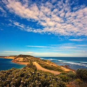Penininsula in Australia by Trippie Visser - Landscapes Travel ( clouds, bushes, waves, ocean, peninsula )