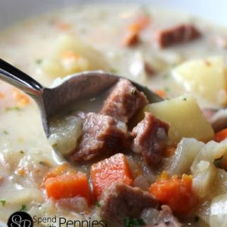 Easy Ham and Potato Soup in the Crock Pot.