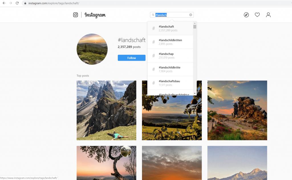 """Instagram-Suche nach """"Landschaft"""""""