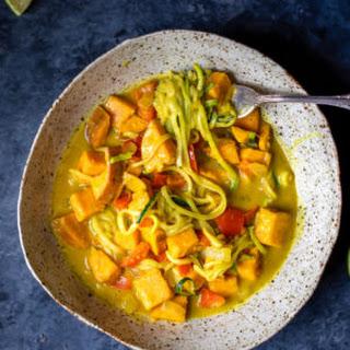 Sweet Potato Zoodle Bowls with Golden Turmeric Coconut Milk Sauce Recipe