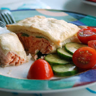 Salmon Fillet Wrapped in Phyllo Pastry.