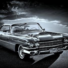 Cruella by JEFFREY LORBER - Black & White Objects & Still Life ( lorerphoto, car photos, coupe de ville, car, vintage, jeffey lorber, cadillac, 1959, classic cars )