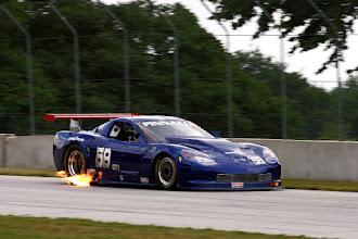 Photo: Exhaust raw fuel burn off on decelleration into a corner. Corvette