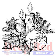 Deep Red Cling Stamp 2X2.1 - Holly Candles UTGÅENDE