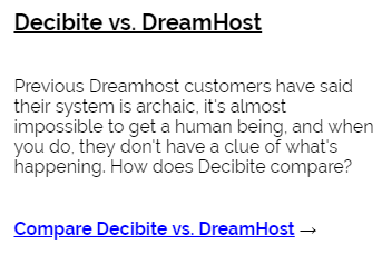 Decibite vs Dreamhost