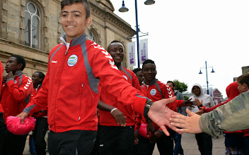 Photo: CBF Players greeted at the opening parade and ceremony [Dale Farm, Northern Ireland Milk Cup, 27 July 2014, (Pic: Darren McKinstry)]