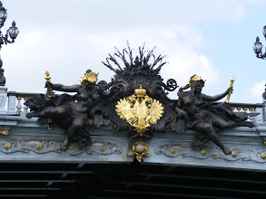Photo: Some of the hammered copper statuary on the Pont Alexandre III can be best seen only from this river perspective. We see here the Nymphs of the Neva with the arms of Imperial Russia; on the center of the steel arch on the other side are the Nymphs of the Seine with the arms of France.