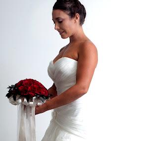 Bride with flowers by Cristobal Garciaferro Rubio - Wedding Bride ( rose, lady, red roses, bride, flower )