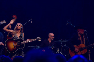 "Photo: AUSTIN, TX - APRIL 20:  (L - R) Sheryl Crow, Kenny Aronoff, and Willie Nelson perform during ""We Walk The Line: A Celebration Of The Music Of Johnny Cash"" at ACL Live on April 20, 2012 in Austin, Texas.  (Photo by Rick Kern/WireImage)"