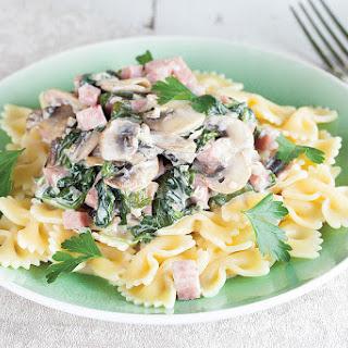 Ham Mushroom And Spinach Farfalle