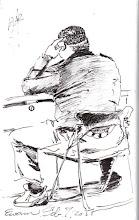 Photo: 胖子2012.02.07鋼筆 被崔阿胖看見我偷畫他的背影,他說怕我忘了是畫誰,於是大方地簽了名。