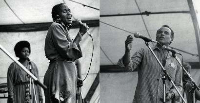Zwei Fotos: Miriam Makeba und Harry Belafonte.