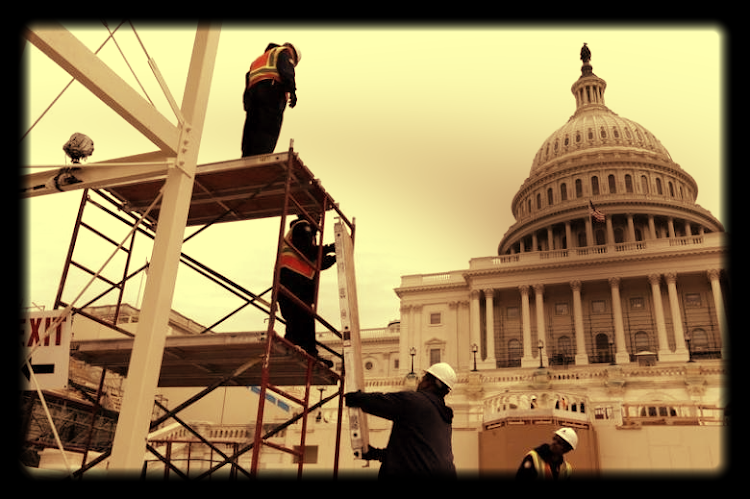 Workers pictured building the elaborate set for the Trump inauguration episode. Picture: REUTERS
