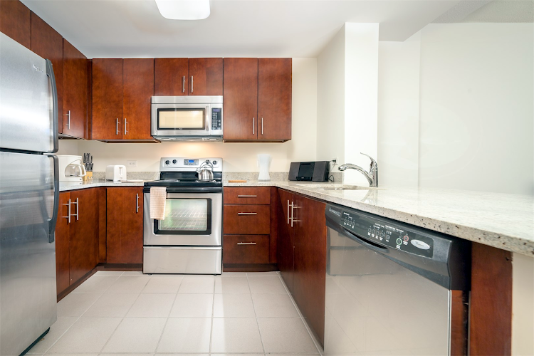 Fully equipped kitchen at Monaco Apartments