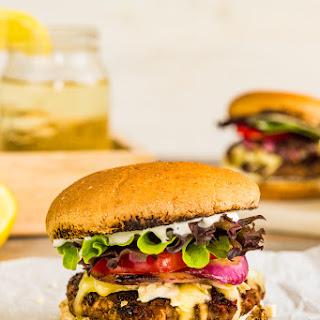 Greek Lamb Burger with Tzatziki.