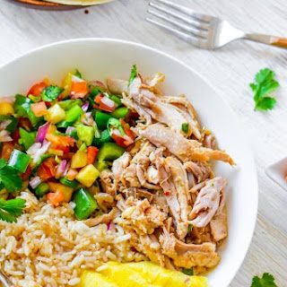 Slow Cooker Mojo Chicken and Rice Bowl.