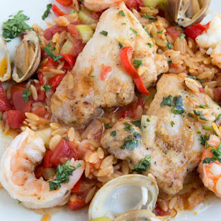 Chicken and Shrimp Orzo Paella modified from Clean Eating Magazine
