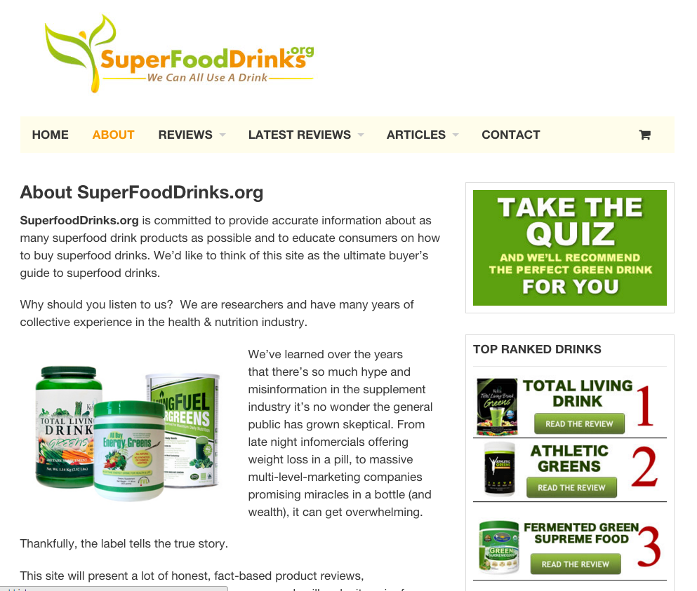 SuperFoodDrinks.org- screenshot
