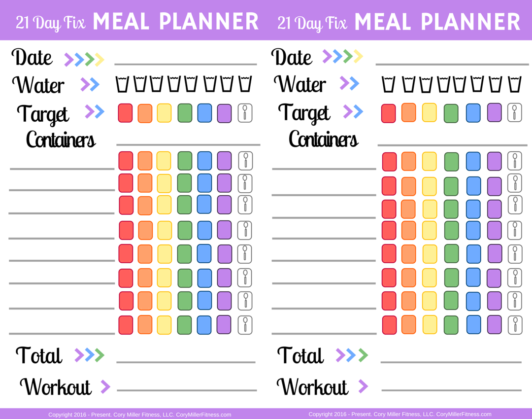 21 day fix worksheets