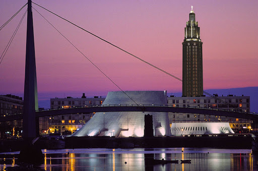 The Church of St. Joseph was built after WWII in Le Havre, France, and its tower houses a beacon that can be seen at sea.