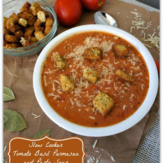 Recipe for Slow Cooker Tomato Basil Parmesan and Pasta Soup