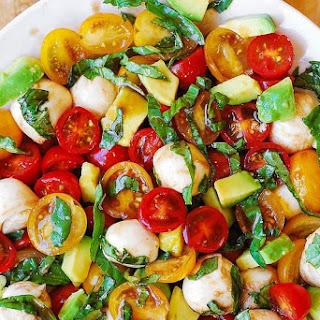 Tomato Basil Avocado Mozzarella Salad with Balsamic Dressing Recipe