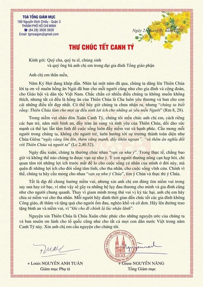 Thư Chúc tết của Đức Tổng Giám Mục Sài Gòn