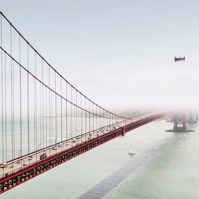 Red Bridge by Artem Kevorkov - Buildings & Architecture Bridges & Suspended Structures ( golden gate bridge, fog, ocean, san francisco )