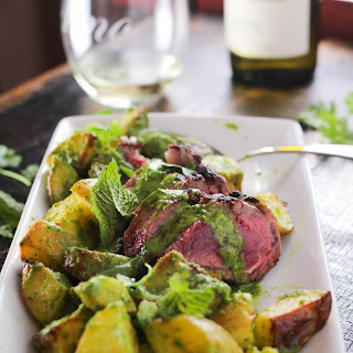 Roasted Lamb Loin with Mint Chimichurri