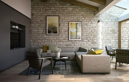 Lựa chọn gạch ốp tường phòng khách phù hợp