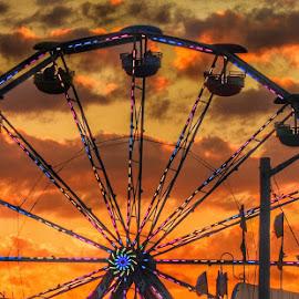 Ferris wheel sunset by Ann Goldman - Novices Only Objects & Still Life ( carnival, sunset, ferris wheel,  )