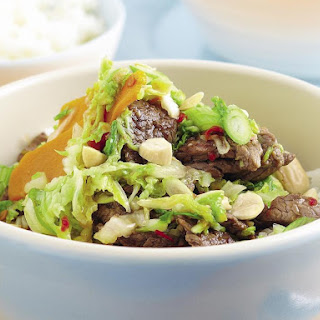 Beef, Squash and Almond Stir-Fry