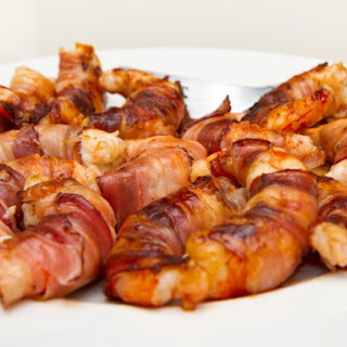 Bacon Wrapped Grilled Shrimp Stuffed With Spicy Cheese.