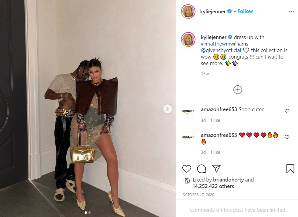 Kylie and Travis most liked post