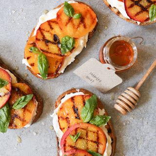 Grilled Peach Tartines with Burrata and Basil