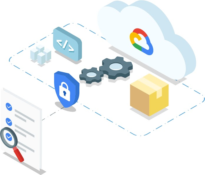 Stylized image of a document with a magnifying glass over a bullet point networked through a padlocked shield to the cloud network of devices