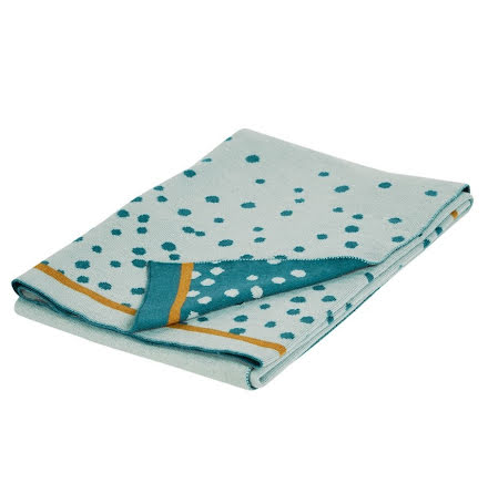 Dony By Deer Stickad Filt, Happy Dots, Blue