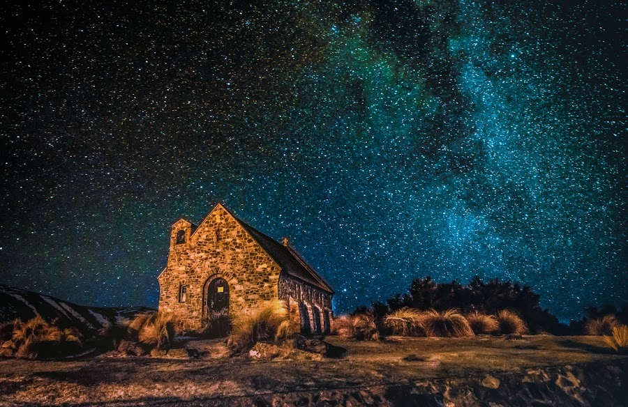 Starry at Lake Tekapo by HP Tang - Landscapes Starscapes ( stars, lake tekapo, church of good shepherd, new zealand, starry )