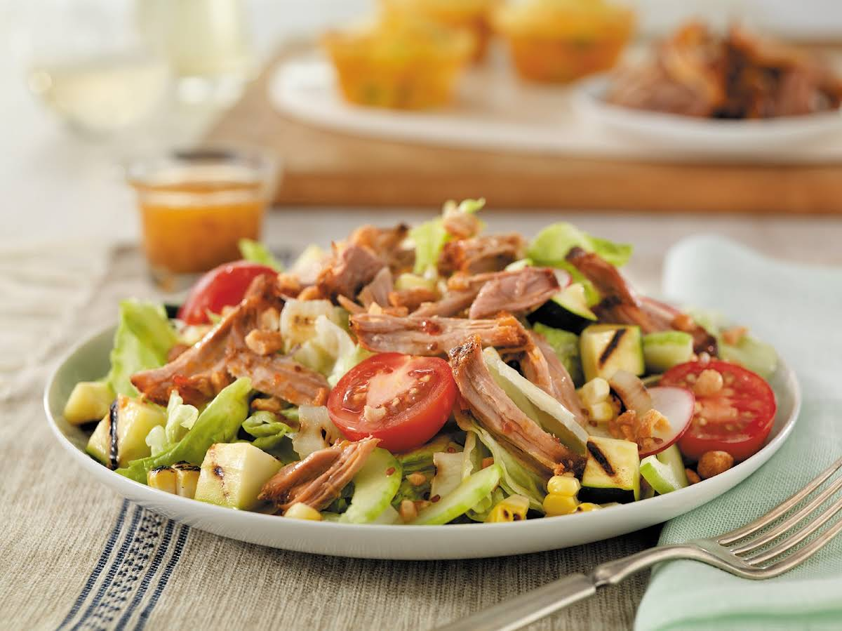 Pulled Pork Salad with Grilled Vegetables Recipe | Yummly
