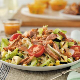 Pulled Pork Salad with Grilled Vegetables.