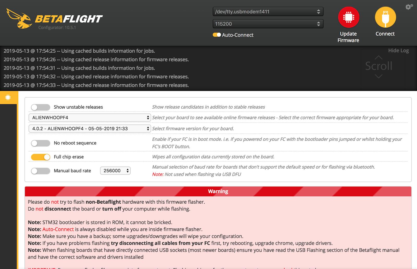 betaflight ファームウェア update