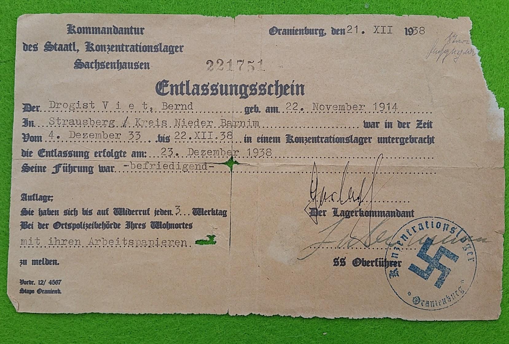 Entlassungsschein KZ Sachsenhausen, 22.12.1938