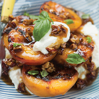 Grilled Bourbon-Pecan Peaches with Ricotta and Basil